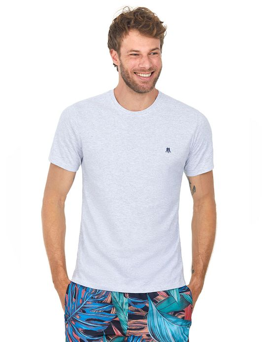 Camiseta Masculina Gc Bordado Marinho Polo Wear Mescla Claro P