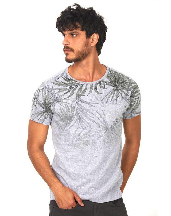 Camiseta Estampada com Bolso Polo Wear Mescla Medio P