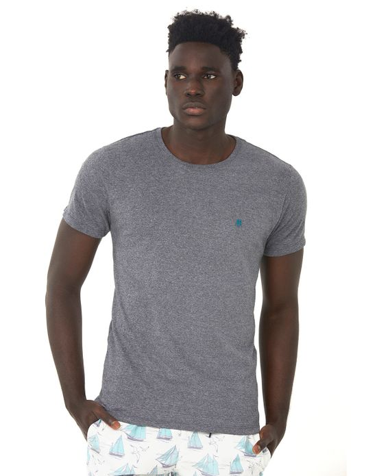 Camiseta Masculina Mescla Escuro Polo Wear P