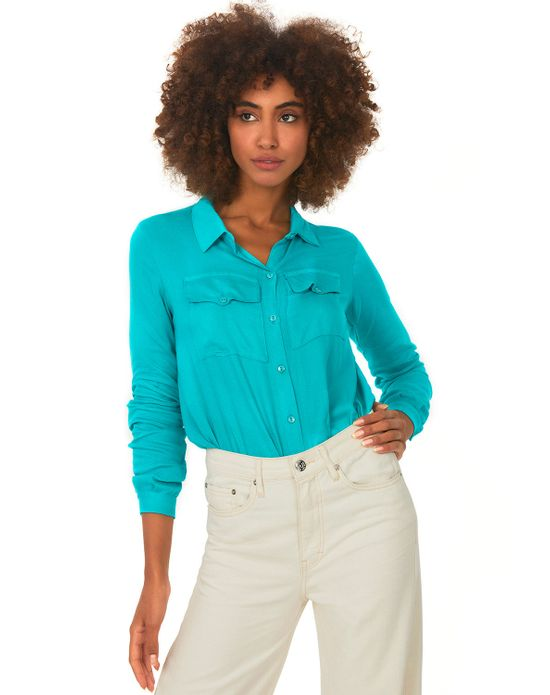 Camisa Bolsos Polo Wear Verde Medio PP