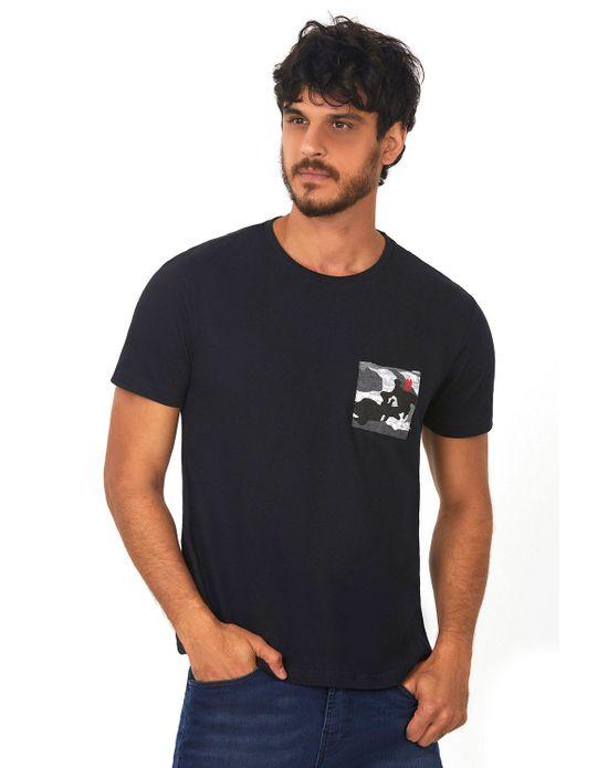Camiseta Bolso Estampado Preto Polo Wear P
