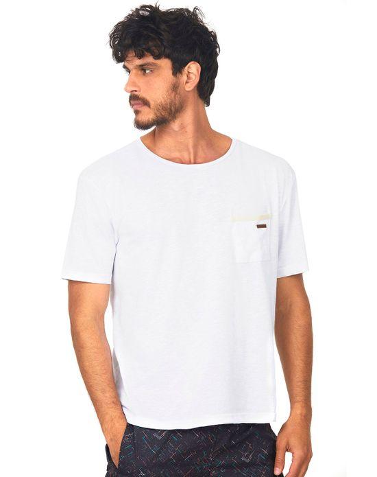 Camiseta com Bolso Masculina Branco Polo Wear P