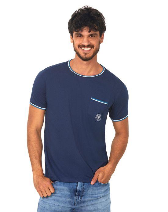 Camiseta com Bolso Azul Escuro Polo Wear M