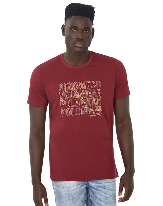 Camiseta Masculina Gc Estampada Vinho Polo Wear P