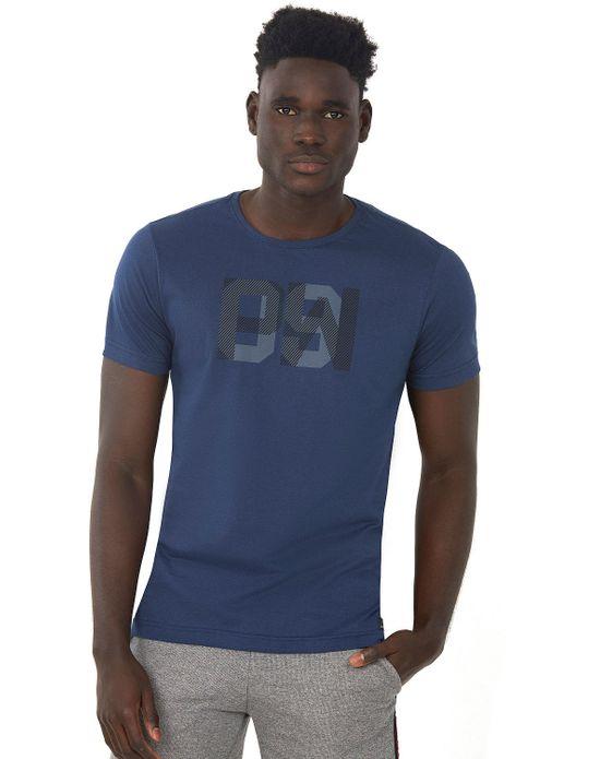 Camiseta Estampada Fosforescente Azul Escuro Polo Wear P